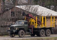 Автомобиль-лесовоз на базе Урал-43202-01 c гидроманипулятором ОМТЛ-70-02. Житомирская область, п. Гранитное