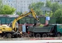 Экскаватор ЕК-12 и самосвал КамАЗ-55111 на реконструкции железнодорожной платформы. Орёл, Железнодорожный вокзал