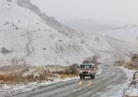 Санитарный автомобиль УАЗ-3962* #057-02 KO в снегопад. Крым, Судак, Восточное шоссе
