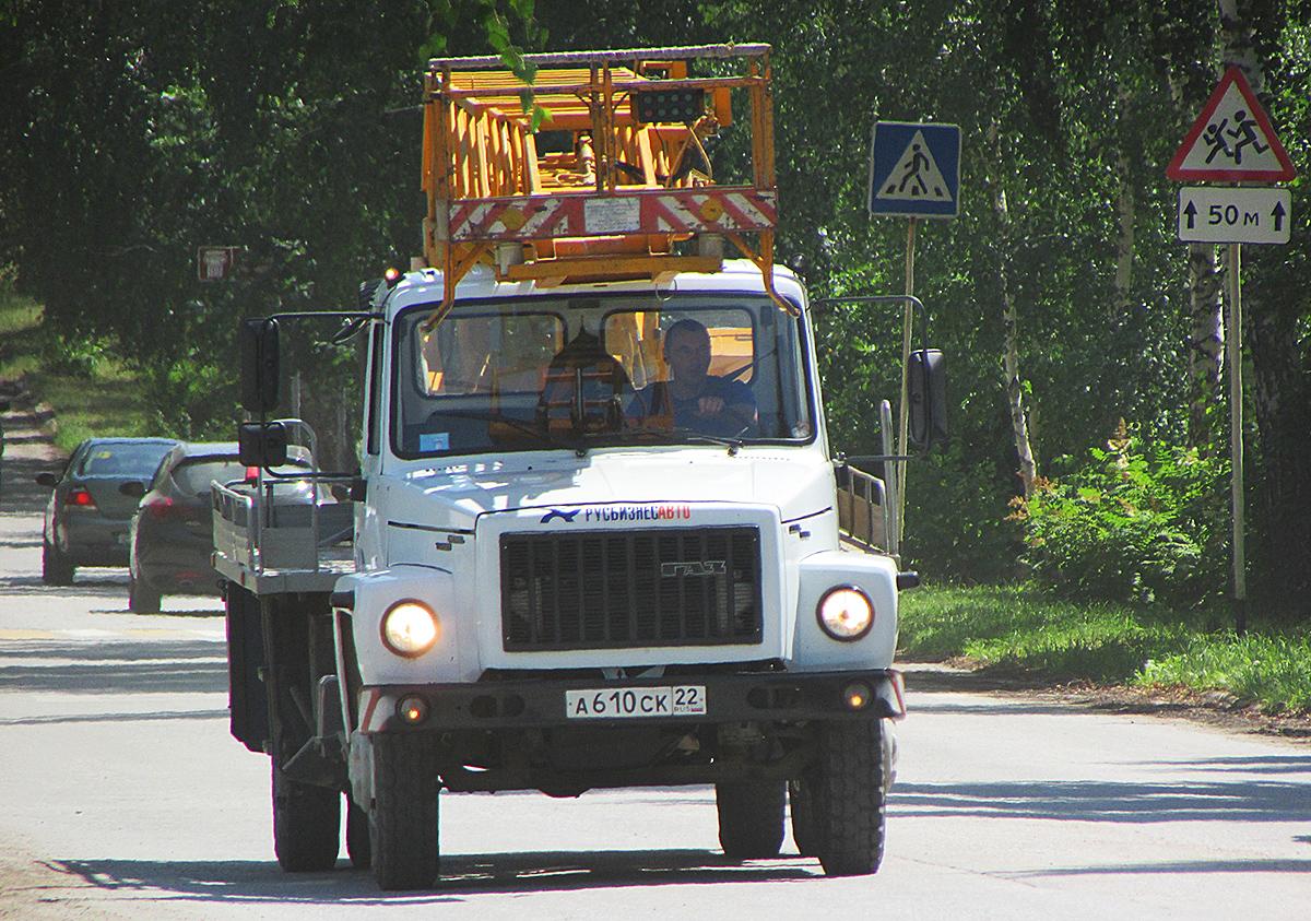 Автогидроподъёмник АП-18-09 на шасси ГАЗ-3309 #А 610 СК 22. Алтайский край, Змеиногорск, улица Ленина