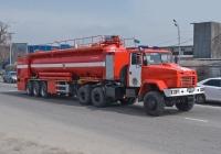 Пожарный автопоезд КрАЗ-6443 (АЦ-30-70-2) в составе тягача КрАЗ-6443 #938 AD 02 и специального полуприцепа-цистерны. Алматы, проспект Рыскулова