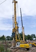 Буровая установка Bauer BG25  на базе Bauer-Sennebogen BS80. Алматы, проспект Рыскулова