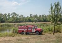 Забор воды пожарной машиной АЦ-40(130)-63Б. Запорожская область, пгт. Терноватое