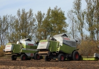 Зерноуборочные комбайны Claas Mega 360 и Claas Maxi 108 SL. Курская область, Пристенский район