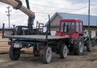 Тракторный прицеп типа 2ПТС-4*  #5054 ТВ 66 с трактором МТЗ-82* #7692 ТВ 66, оснащённым навесным погрузчиком. Свердловская область, Лосиный