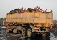 Бортовой полуприцеп #АС 0461 66 в составе автопоезда. Свердловская область, Луговской