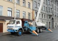 Коленчатый подъёмнк Bronto Skylift F30-3 на шасси КамАЗ-53213 #С 004 РМ 55. Санкт-Петербург, Набережная реки Мойки