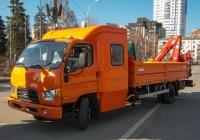 Бортовой автомобиль с КМУ Чайка-Сервис на базе Hyundai HD78. Самара, площадь имени В. В. Куйбышева, выставка КомАвтоТранс-2013