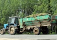 Трактор МТЗ-82 с прицепом КР-Ф-10 #2878 МЖ. Беларусь, Могилёвская область, Трасса Р-123