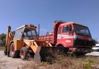 экскаватор JCB, самосвал на шасси Mersedes-Benz 1419. Греция, остров Родос, муниципалитет Родос, Ялисос