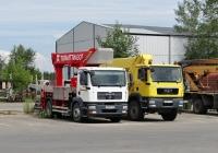 Автоподъёмники Bison Palfinger на шасси MAN TGM #О 007 МУ 163 и Wumag-Palfinger WT 350 на шасси MAN TGS #О 995 ХС 163. Тольятти, Поволжское шоссе