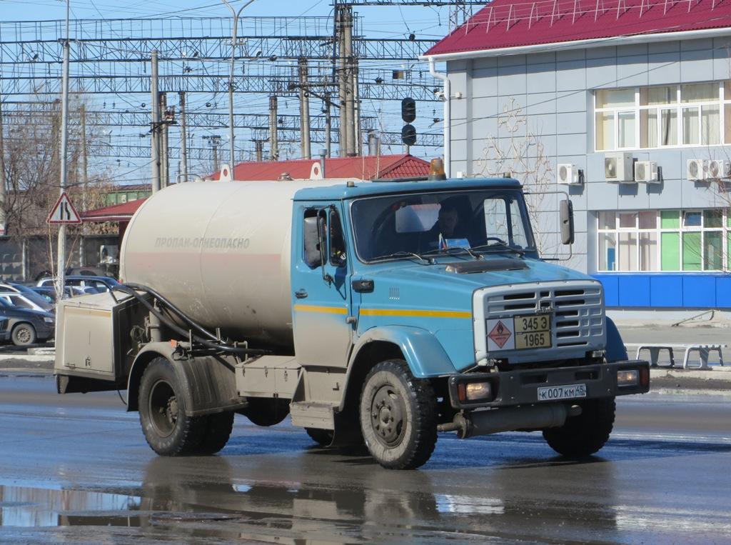 Автоцистерна для перевозки сжиженного газа АЦТ-8МУ на шасси ЗиЛ-433362 #К 007 КМ 45. Курган, Станционная улица