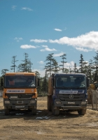 Самосвалы на шасси Mersedes-Benz Actros #м392еа89 и #а210нн89. Сахалинская область, Ногликский район, вахтовый поселок Киринского ГКМ