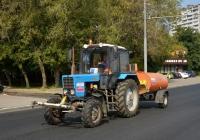 Коммунальная уборочная машина на базе трактора Беларус-82.1 с цистерной для полива  . Москва, Ярославское шоссе