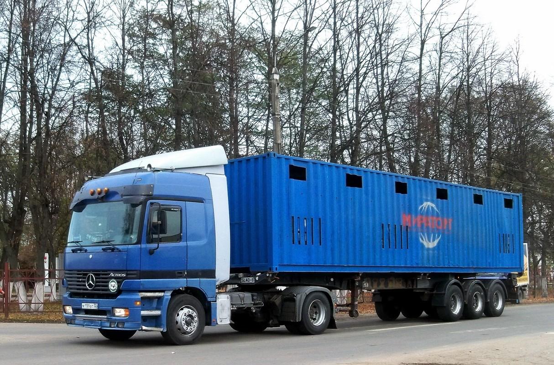 Седельный тягач Mersedes-Benz Actros c полуприцепом-скотовозом #К 199 ВТ 32. Россия, Брянская область, Унеча
