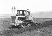 Трактор ДТ-75 с плугом ПЛН-3-35 на конкурсе пахарей. Белгородская обл., Алексеевский район