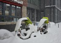 Грузовые мотороллеры, предназначенные для рекламы и доставки пиццы, в снежном плену . Москва, Старопетровский проезд