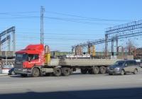 Седельный тягач Scania P114 GA6X4NZ340 #Р 232 ЕА 45 с полуприцепом. Курган, Станционная улица