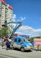 Коленчатый подъёмник ПМС-212-02 на шасси ГАЗ-33023 #У 484 РУ 163. г. Самара, ул. Ново-Садовая