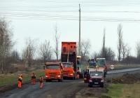 Дорожно-строительная техника на ремонте автодороги. Белгородская область, Алексеевский район