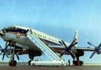 Самоходный трап СПТ-114 у самолёта Ту-114. Место съёмки неизвестно