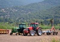 Трактора John Deere 4240 и McCormick MTX 140 на уборке томатов.. Израиль, Хайфский округ