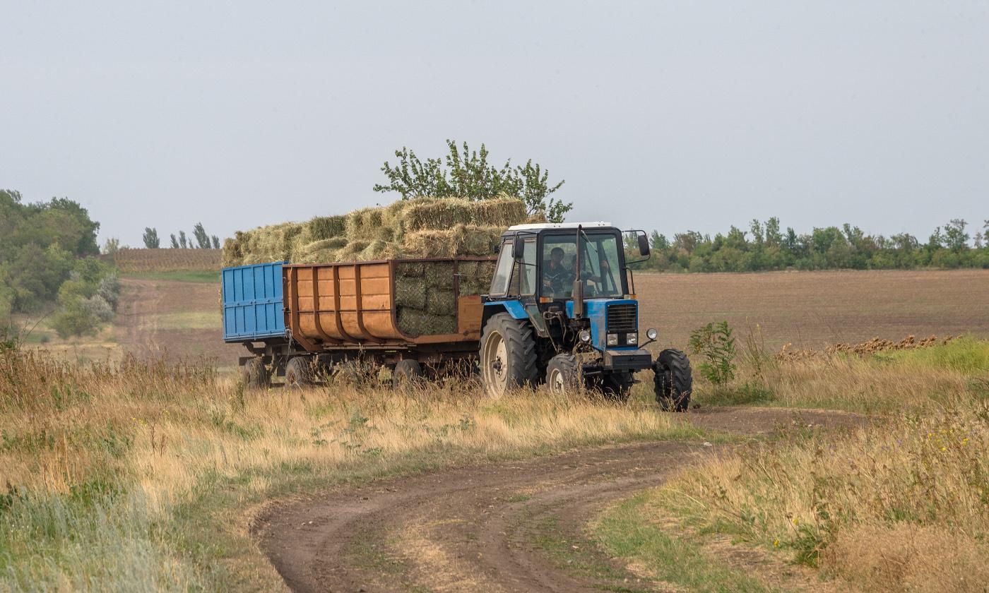 Трактор МТЗ-82 с прицепами. Запорожская область, Пологский район