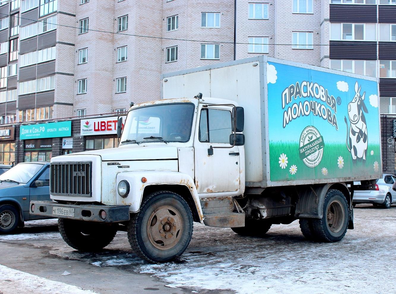 Фургон Спецмобиль-28181-0000010-12 на шасси ГАЗ-3309 #К 196 ЕВ 60. Псков, улица Труда
