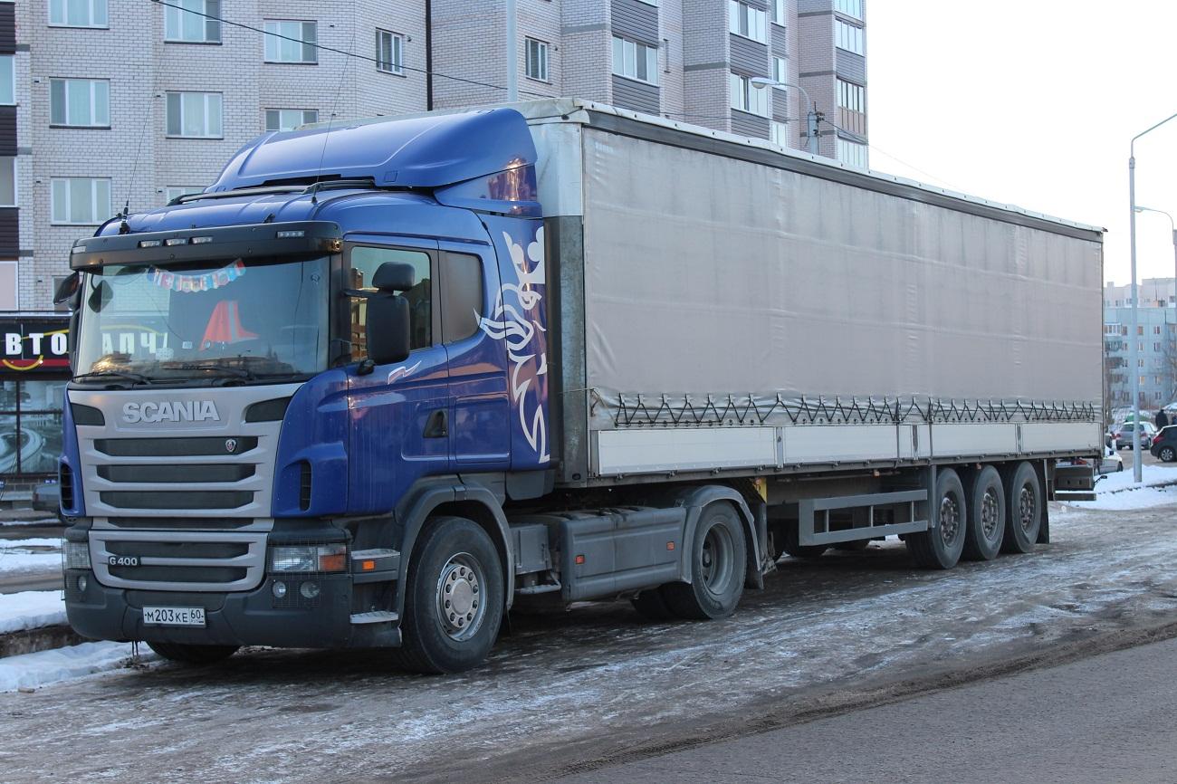 Седельный тягач Scania G 400 #М 203 КЕ 60. Псков, улица Труда