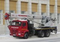 "Автокран КС-55732 ""Челябинец"" на шасси КамАЗ-65115-42 #О 570 МЕ 45.  Курган, улица Куйбышева"