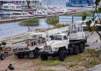 грузовой автомобиль ГАЗ-66 б/н и подъемный кран КС-2573 на базе УралАЗ-4320* #О448МН163. г. Самара, набережная реки Волги