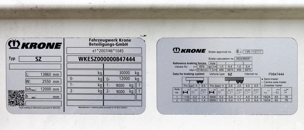 Полуприцеп Krone SZ #WGM45441. Konduktorska 39, Катовице, Польша