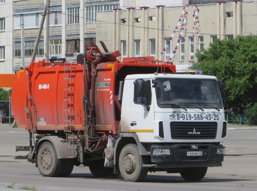 Мусоровоз КО-440-8 на шасси МАЗ-5340 #Р 087 МЕ 45. Курганская область, Шадринск, улица Свердлова