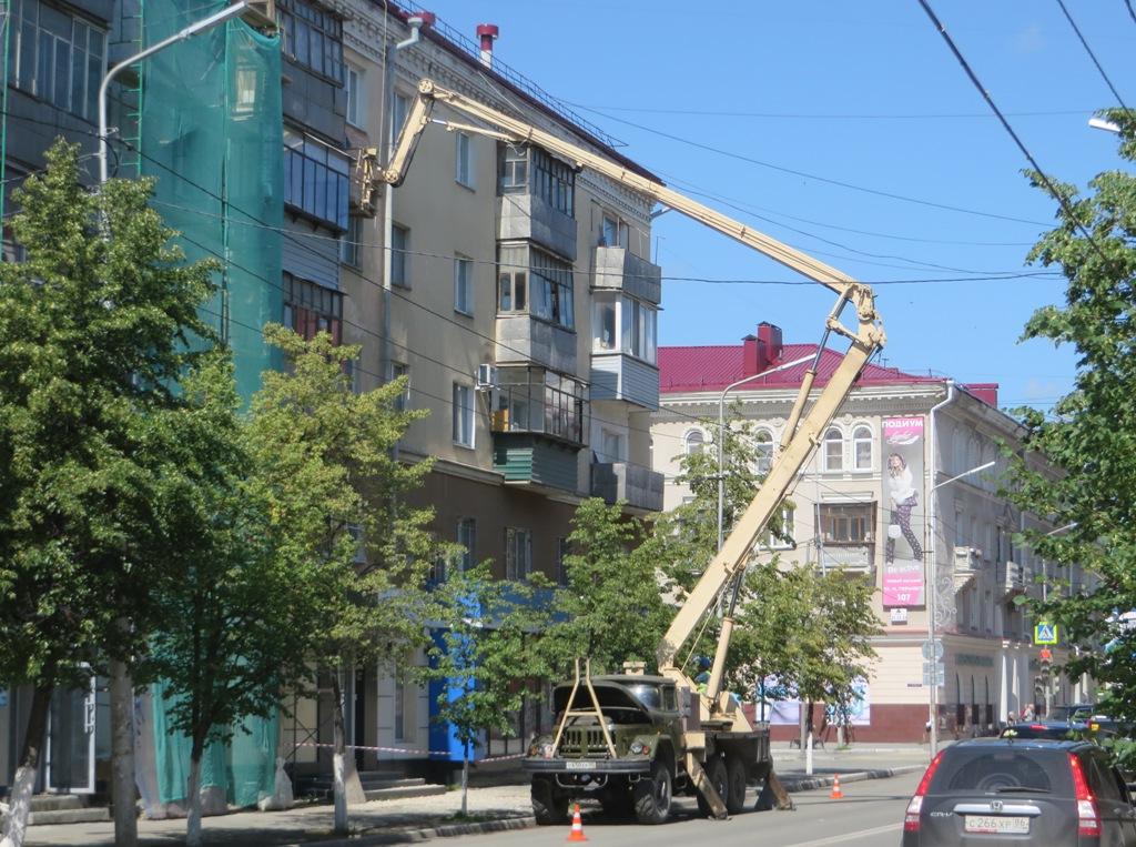 Автоподъёмник АГП-22-06 на шасси ЗиЛ-131 #С 650 ЕР 45. Курган, улица Ленина