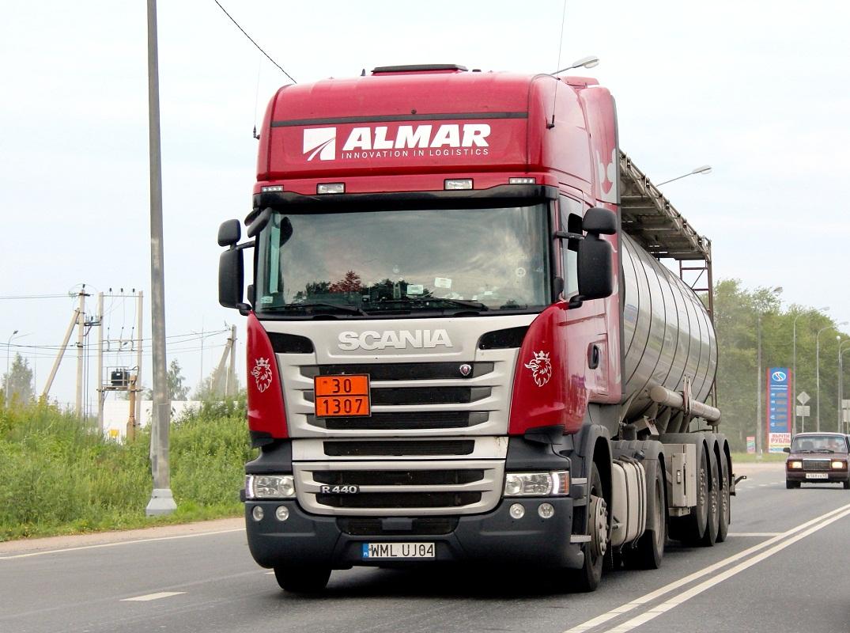 Седельный тягач Scania R 440 #WML UJ04. Псков, Ленинградское шоссе