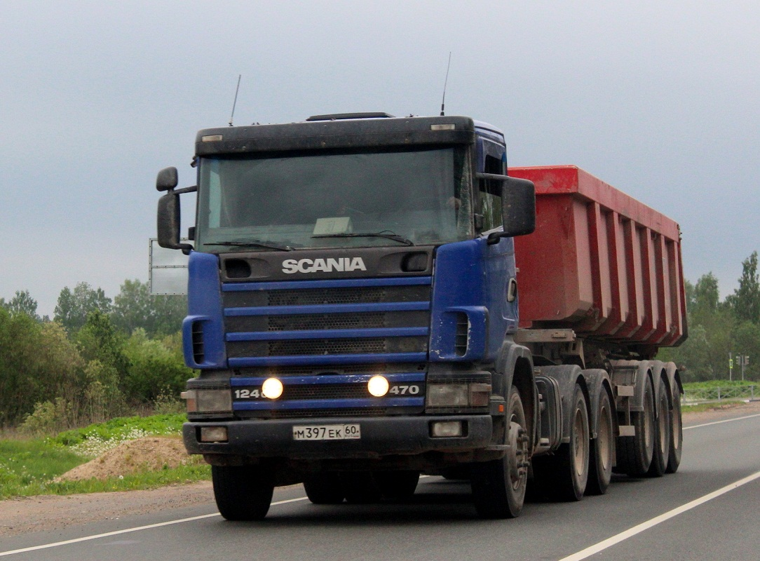 Седельный тягач Scania R 124C #М 397 ЕК 60. Псков, Ленинградское шоссе