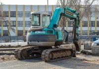 экскаватор на гусеничном ходу KOBELCO SK75UR #3591АК63. г. Самара, ул. Крупской, строительная площадка Фрунзенского моста