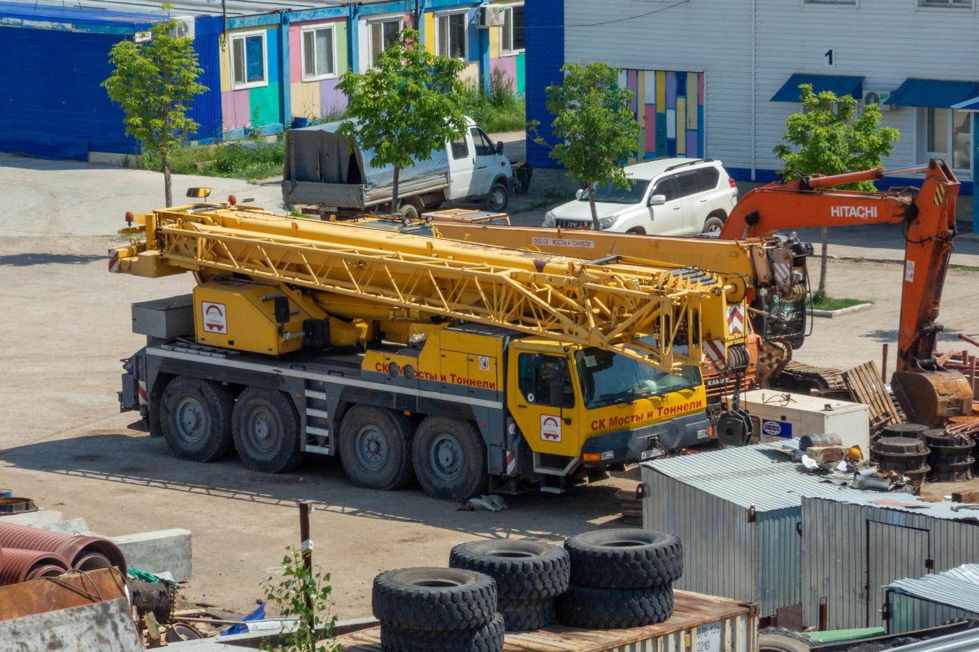 подъемный кран #Е301УО63. г. Самара, Фрунзенский мостовой переход