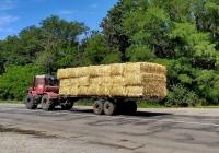 Трактор Т-170 с полуприцепом для перевозки прессованных тюков. Харьковская область, автодорога Т-21-04