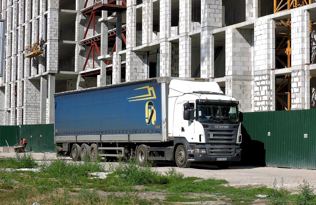 Седельный тягач Scania R420 #АМ 2362 ВХ. Киев, проспект Николая Бажана