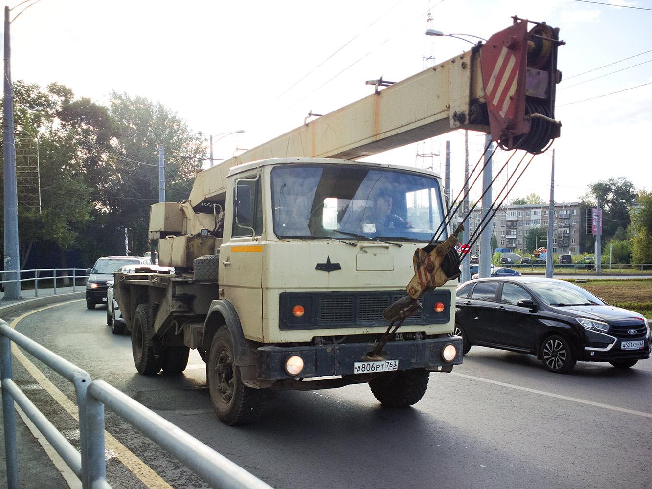 автокран КС-3577 на шасси МАЗ-5337 #А806РТ763. г. Самара, Московское шоссе