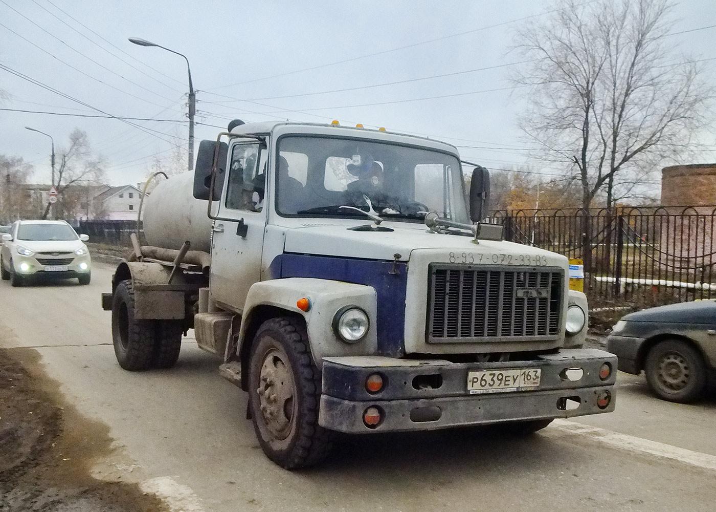Вакуумная машина на шасси ГАЗ-3307 #Р639ЕУ163. Самарская обл., г. Кинель, ул. Чехова